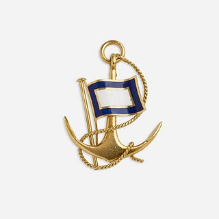Hermes, Enamel and gold nautical brooch
