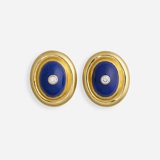 Paloma Picasso for Tiffany & Co., Lapis lazuli, diamond, and gold earrings