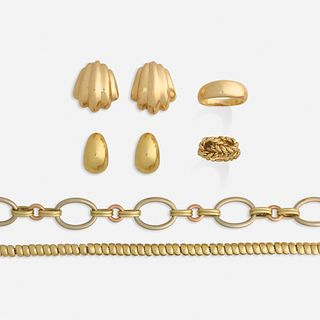 Group of modern gold jewelry