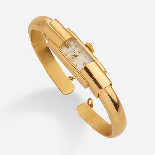 Baume & Mercier, Mid-century lady's gold watch bangle