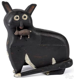 Folk art carved and painted cat and rabbit
