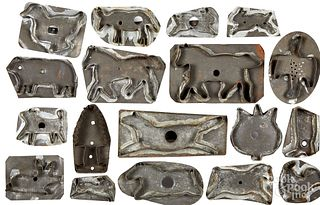 Collection of eighteen tin animal cookie cutters