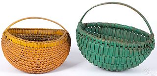 Two painted split oak baskets