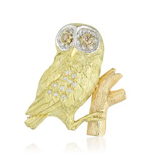 EW & Co. Diamond Owl Brooch
