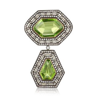 Antique Diamond and Peridot Brooch