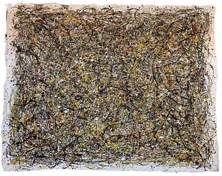 Jackson Pollock Style Large Abstract Oil on Canvas