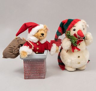 Lot of 2 toys. Germany. 20th century. Steiff. Plush toys. Consists of: Santa Claus Teddy and snowman.