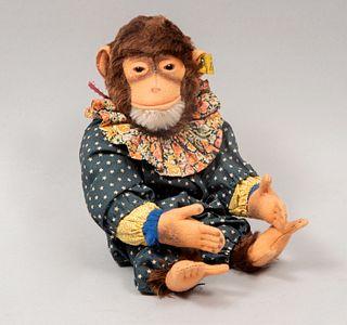Toy Monkey. Germany. 20th century. Steiff. Plush toy. Dress. Brand label.