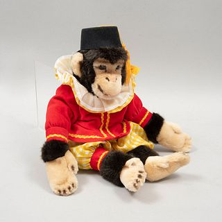 Toy Monkey. Germany. 20th century. Steiff. Plush toy. Circus outfit. Brand button and label.