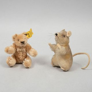 Lot of 2 toys. Germany. 20th century. Steiff. Plush toy. Consists of: bear and mouse. One with brand button and label.