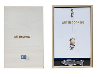 AA.VV.<br><br>Art in Cooking (without place), Unilever Bestfoods Italia, 2003 - 2005; 3 volumes 34.5x24.5 cm., Editorial binding in canvas, cover, pp.