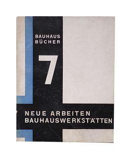 """Gropius, Walter<br><br>Neue Arbeiten der Bauhauswerkstätten, München, Albert Langen Verlag, """"Bauhausbücher n. 7 """", 1925, 23x18 cm., Paperback, jacket,"""