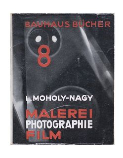 "Moholy-Nagy, Lazlo<br><br>Malerei - Photographie - FilmMunchen, Albert Langen Verlag, ""Bauhausbucher n. 8 "", 1925, 23x18 cm., Paperback, jacket, pp. 1"