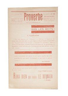 Proverbe. Feuille Mensuelle<br><br>Proverbs - n. 3. Bas le mots! Paris, Paul Eluard, April 1, 1920, 22.5 cm., Plaquette, pp. [4], text printed in red