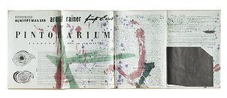 Rainer, Arnulf<br><br>Fritz Hundertwasser / Arnulf Rainer / Ernst Fuchs: haben das PINTORARIUM gegrundet, Wien, 1959, 117x42.5 cm