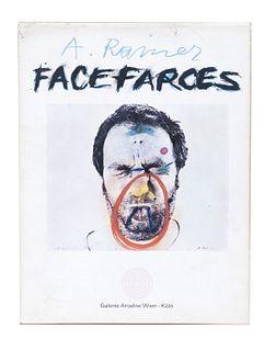 Rainer, Arnulf<br><br>Face Farces Wien - Köln, Galerie Ariadne, 1971, 28x21.5 cm., Editorial binding on canvas, jacket, pp. [112].