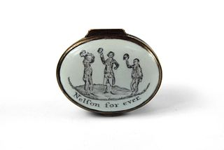 Bilston Enamel Patch Box Nelson with Sailors