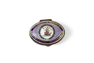 Bilston Enamel Box with Anchor