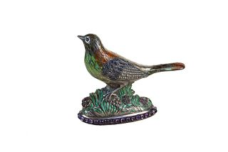 Viennese Silver and Enamel Gem-Set Bird