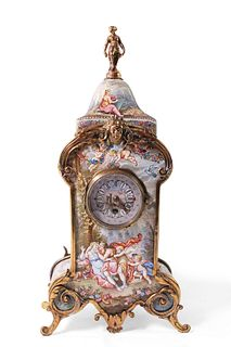 Viennese Silver and Enamel Clock