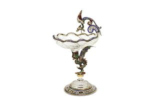 Large Viennese Enamel and Rock Crystal Tazza