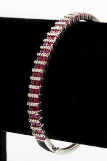 14K White Gold Diamond & Ruby Bangle Bracelet