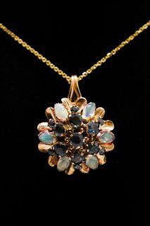 14K Yellow Gold Sapphire & Opal Pendant Necklace