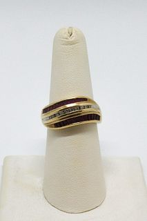 Vintage 14K Yellow Gold Diamond & Ruby Ring