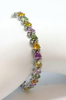 14K White Gold Colored Sapphire & Diamond Bracelet