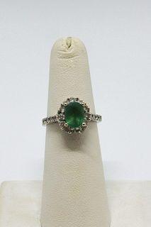 18K White Gold Emerald & Diamond Ring