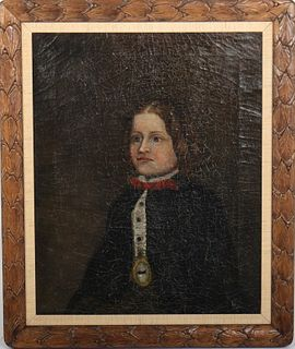 "American School ""Portrait of a Boy"" Oil on Canvas"