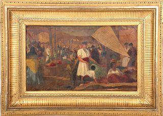 "Hamilton Gibbs Wilde ""Granada Market"" 19th C. Oil"