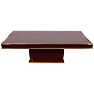 Eric Maville Lacquer & Brass Modern Coffee Table
