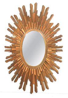 Mid-Century Modern Syroco Wood Sunburst Mirror