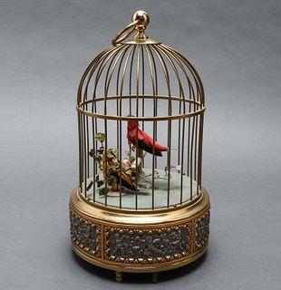 German Wind-Up Automation Chirping Bird Cage