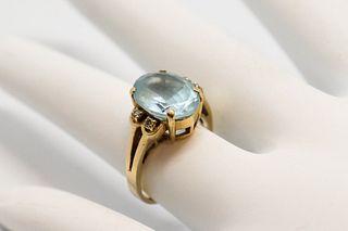 Vintage 14K Yellow Gold Topaz & Diamond Ring