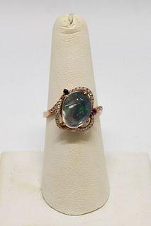 14K Rose Gold, Diamond & Colored Stone Ring
