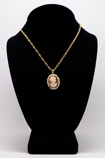 14K Yellow Gold Pearl & Cameo Pendant Necklace