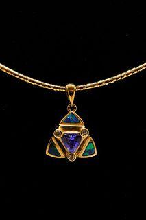 14K Yellow Gold Tanzanite & Diamond Opal Necklace