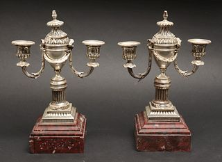 Neoclassical Style Silver-Plate Candelabra, Pair