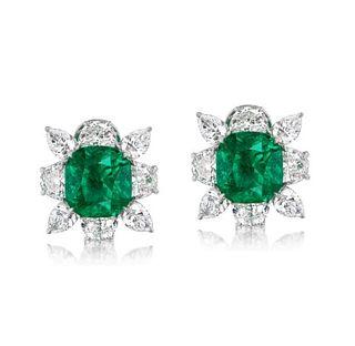 7.33ct Colombian Emerald & 4.86ct Diamond Earrings