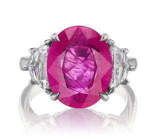 8.85ct Burmese Ruby And 1.22ct Diamond Ring