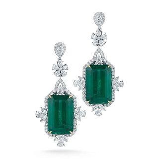 47.81ct Emerald And 8.11ct Diamond Earrings