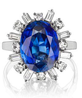 6.21ct NO-HEAT Sapphire And 1.60ct Diamond Ring