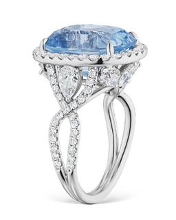 14.57ct Icy Sapphire And 2.52ct Diamond Ring