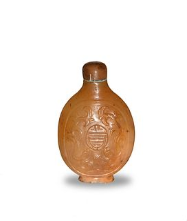 Chinese Agate Snuff Bottle with Chilong, 18th Century