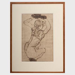 Egon Schiele (1890-1918): Kauernde (Squatting Woman), from The Graphic Work of Egon Schiele