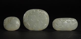 Set of 3 Chinese Jade Plaques with Fruit, 18-19th Century
