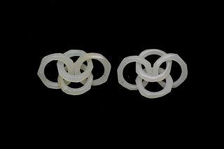 Pair of White Jade Earrings, 18-19th Century