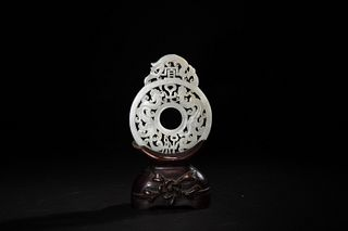 Chinese White Jade Good Fortune Plaque
